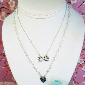 Tiffany paloma double heart locket necklace